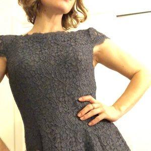 Adriana Papell peony blue A-line lace dress